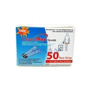 Kan Şekeri (Glukoz) Ölçüm Test Stribi GlucoMax TD-4325 50li (1)