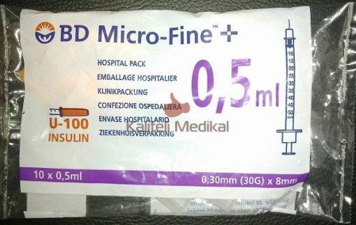 0.5cc İnsülin Enjektörü BD Micro-Fine 100U 30G 0.30x8mm 10lu