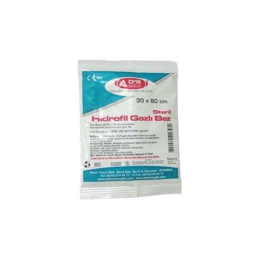 30x80cm Steril Hidrofil Gazlı Bez DS Sağlık GBS06