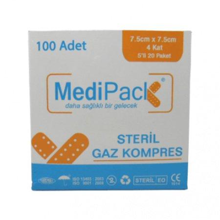 7.5x7.5cm Steril Hidrofil Gazlı Bez MediPack 4 Kat 100lü