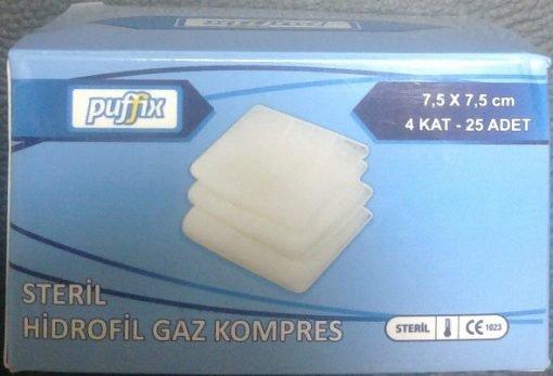 7.5x7.5cm Steril Hidrofil Gazlı Bez Puffix 4 Kat 25li