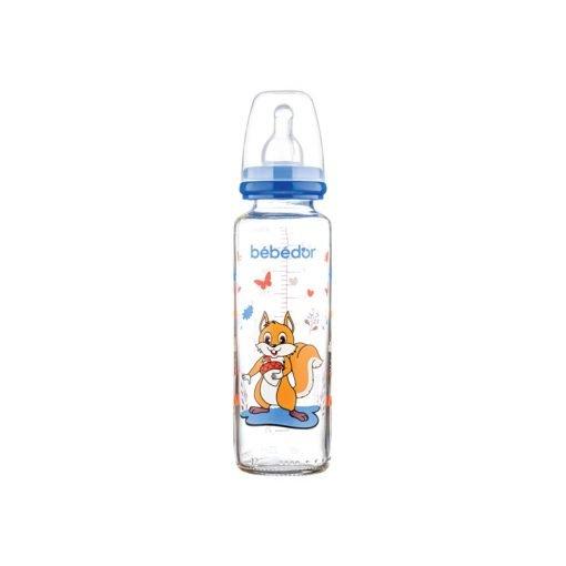 Desenli Cam Biberon Bebedor 31302 Koyu Mavi 250ml