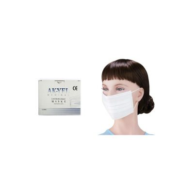 Lastikli (Cerrahi) Maske AK-YEL Beyaz 3 Katlı 100lü