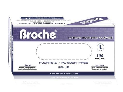 Lateks Pudrasız Muayene Eldiveni Broche Large 100lü