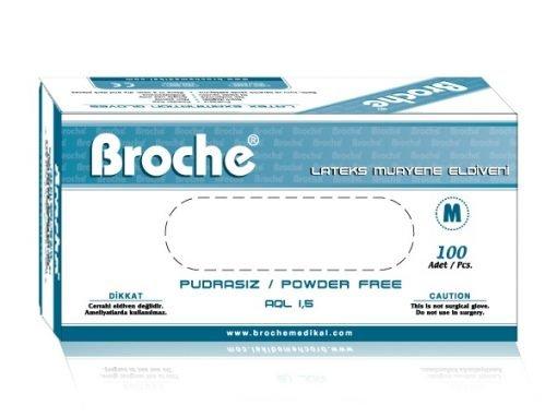 Lateks Pudrasız Muayene Eldiveni Broche Medium 100lü