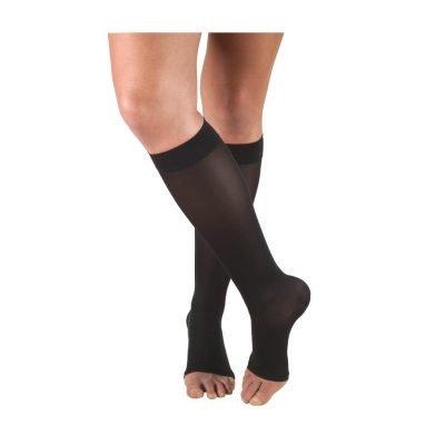 Diz Altı Burnu Açık Varis Çorabı Wollex 857 No: 2 CCL1 18-21mmHg Siyah