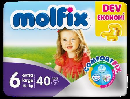 Bebek Bezi Molfix XLarge Dev Ekonomi No: 6 40lı