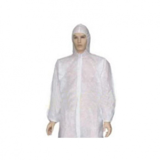 Disposable Uzun Kollu Kapşonlu Beyaz Önlük Özmeriç 100lü