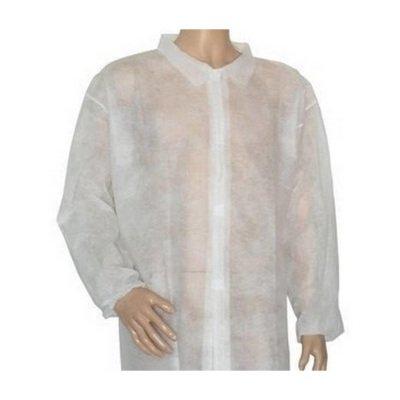 Disposable Uzun Kollu Fermuarlı Beyaz Önlük Özmeriç 100lü