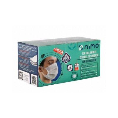 Yetişkin Cerrahi Maske Nimo Beyaz 3 Katlı 50li