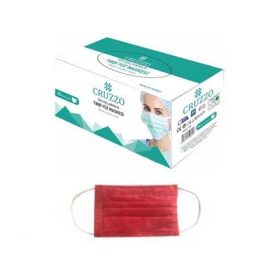 Çocuk Cerrahi Maske Cruzzo CRM01C Kırmızı 3 Katlı 10lu