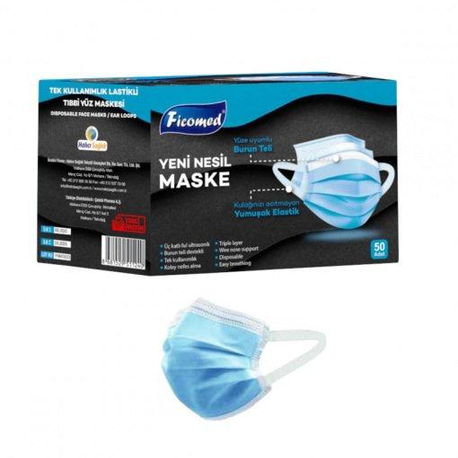 Yetişkin Cerrahi Maske Ficomed YNM0003 Mavi 3 Katlı 50li