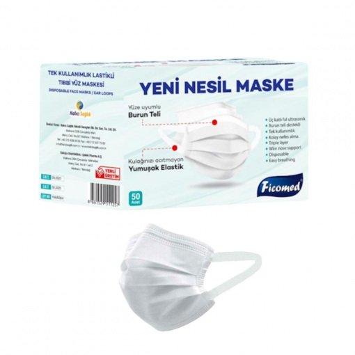 Yetişkin Cerrahi Maske Ficomed YNM0004 Beyaz 3 Katlı 50li