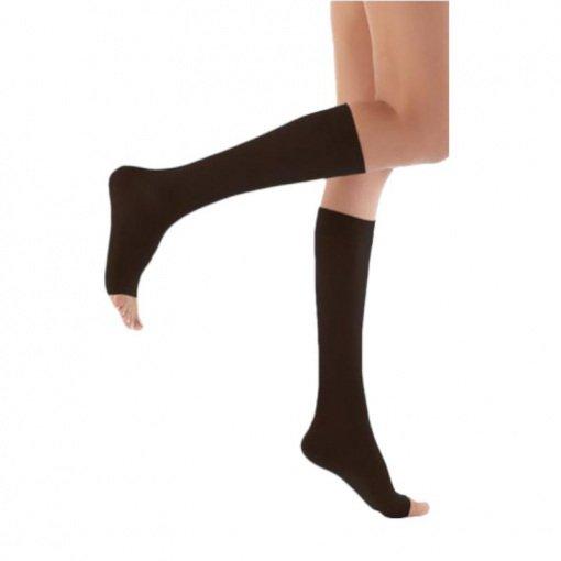 Diz Altı Burnu Açık Varis Çorabı Wollex 857 No: 4 CCL2 23-32mmHg Siyah